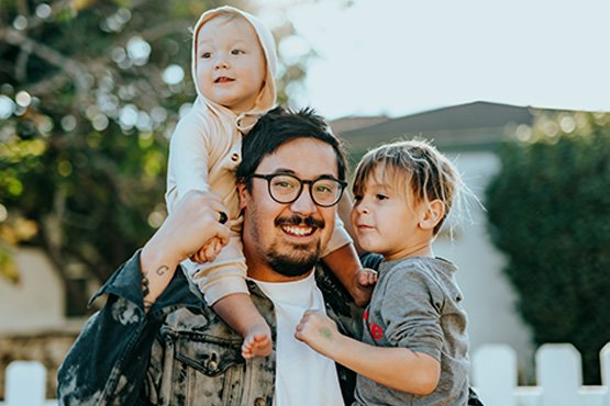 Father with young kids