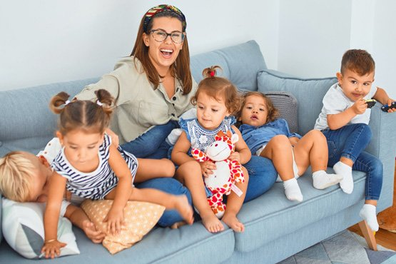 Mom with children on couch
