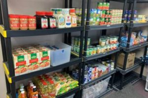 Shelves stocked with food